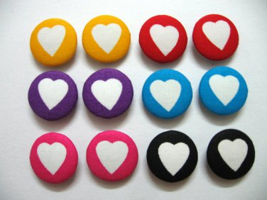 FABRIC BUTTONS - 1 INCH BUTTONS - MIXED COLORS HEART PRINT SET OF 50