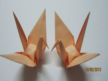 "100 LARGE PEACH ORIGAMI CRANES FOR WEDDING DECORATIONS 6"" X 6"""
