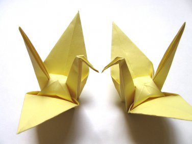 """100 LARGE YELLOW ORIGAMI CRANES FOR WEDDING DECORATIONS 6"""" X 6"""""""
