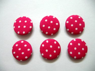 FABRIC BUTTONS - 1 INCH BUTTONS - WHITE POLKA DOT PRINT ON PINK SET OF 50
