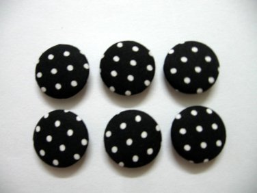 FABRIC BUTTONS - 1 INCH BUTTONS - WHITE POLKA DOT PRINT ON BLACK SET OF 50