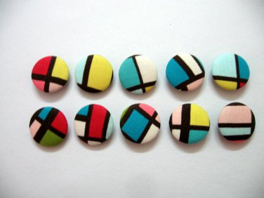 FABRIC BUTTONS - 1 INCH BUTTONS - COLORFUL PRINT SET OF 50