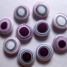 FABRIC BUTTONS - 1 INCH BUTTONS - IRREGULAR PURPLE AND WHITE DOT SET OF 50