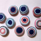 FABRIC BUTTONS - 1 INCH BUTTONS - IRREGULAR BLUE AND WHITE DOT SET OF 50