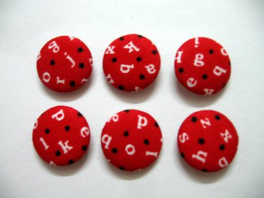 FABRIC BUTTONS - 1 INCH BUTTONS - ALPHABET PRINT ON RED SET OF 50