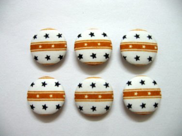 FABRIC BUTTONS - 1 INCH BUTTONS - STAR PRINT SET OF 50