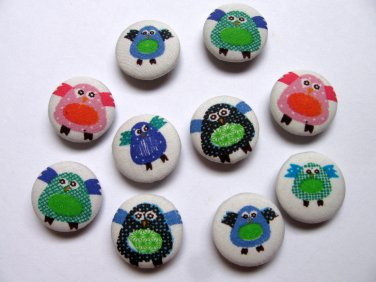 FABRIC BUTTONS - 1 INCH BUTTONS -CUTE OWLIE SET OF 50