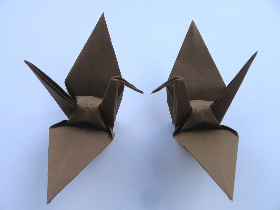 """100 LARGE BROWN ORIGAMI CRANES FOR WEDDING DECORATIONS 6"""" X 6"""""""