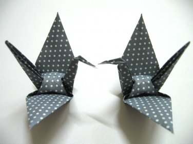 """100 LARGE POLKA DOT ON GREY ORIGAMI CRANES FOR WEDDING DECORATIONS 5"""" X 5"""""""
