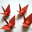 "100 LARGE POLKA DOT ON ORANGE ORIGAMI CRANES FOR WEDDING DECORATIONS 5"" X 5"""