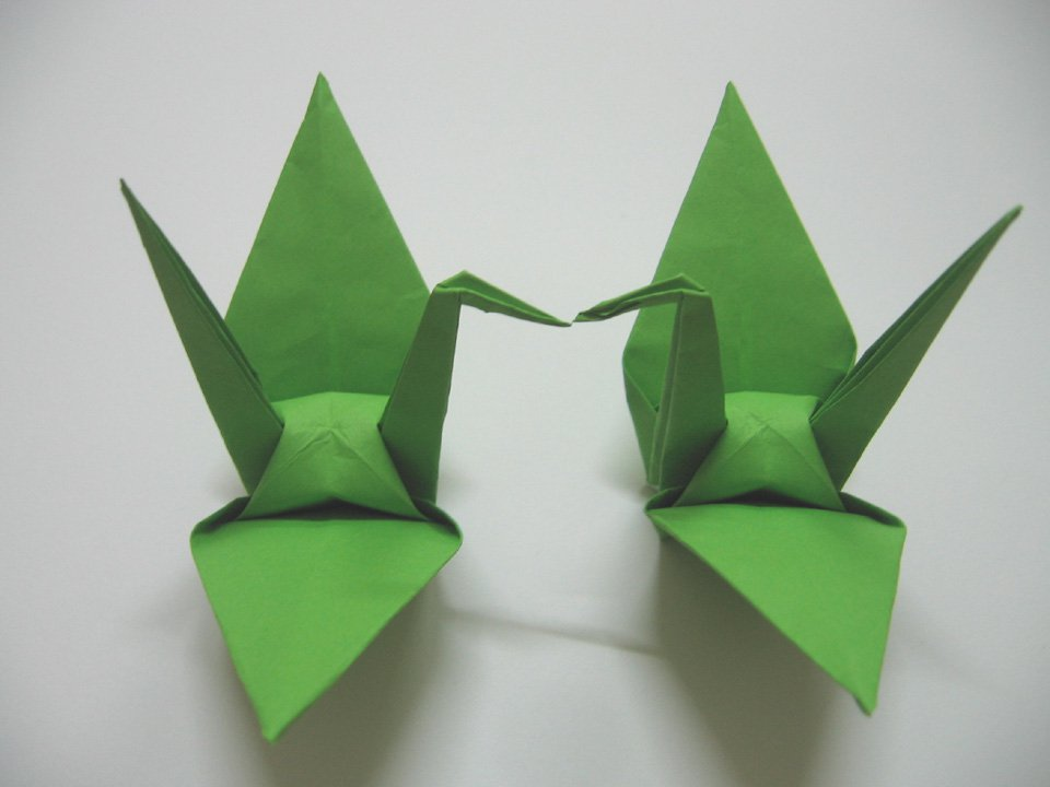 "100 LARGE GREEN ORIGAMI CRANES FOR WEDDING DECORATIONS 6"" X 6"""