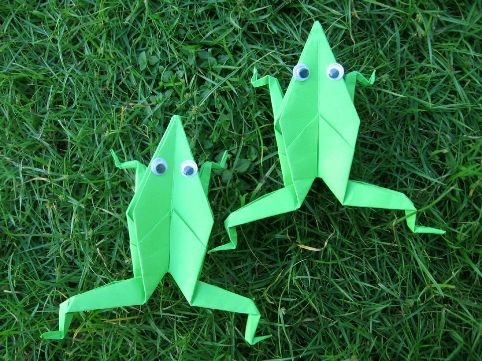 Large Origami Green Frogs Set Of 50
