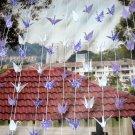 ORIGAMI CRANES GARLANDS WHITE, PURPLE AND PATTERN PRINT SET OF 10 STRANDS