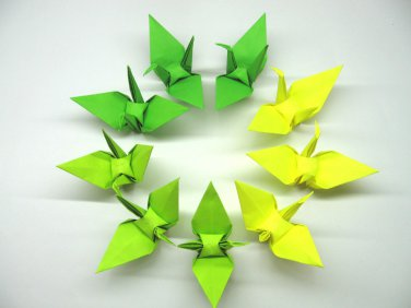 """100 LARGE GREEN COLORS ORIGAMI CRANES FOR WEDDING DECORATIONS 6"""" X 6"""""""