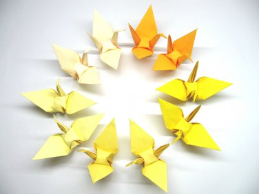 """100 LARGE YELLOW 5 SHADES COLORS ORIGAMI CRANES FOR WEDDING DECORATIONS 6"""" X 6"""""""