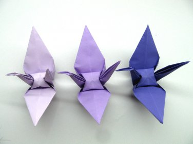 "100 LARGE PURPLE 3 SHADES  COLOR ORIGAMI CRANES FOR WEDDING DECORATIONS 6"" X 6"""
