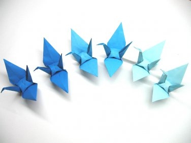 """100 LARGE BLUE 3 SHADES  COLOR ORIGAMI CRANES FOR WEDDING DECORATIONS 6"""" X 6"""""""