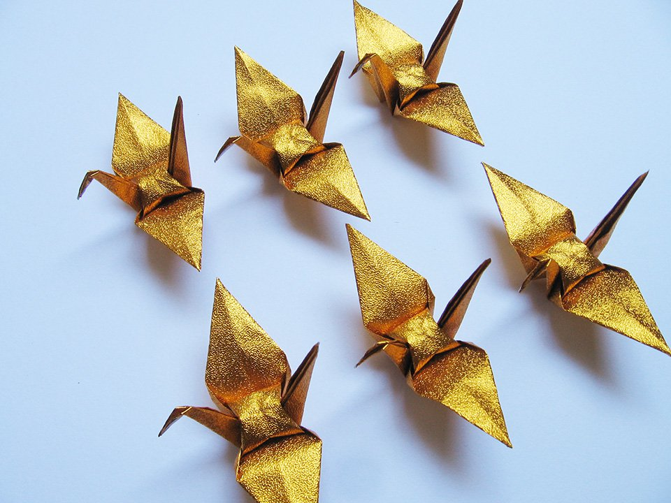 "100 SMALL SHINY GOLD ORIGAMI CRANES FOR WEDDING DECORATIONS 3.5"" X 3.5"""