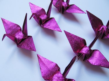 "100 SMALL SHINY PINK ORIGAMI CRANES FOR WEDDING DECORATIONS 3.5"" X 3.5"""