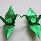 "100 LARGE SHINY GREEN ORIGAMI CRANES FOR WEDDING DECORATIONS 6"" X 6"""