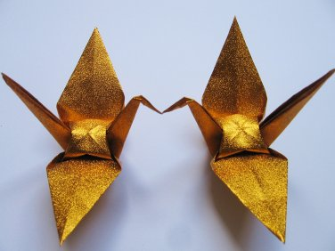 """100 LARGE SHINY GOLD ORIGAMI CRANES FOR WEDDING DECORATIONS 6"""" X 6"""""""