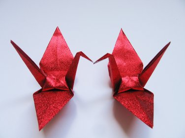 """100 LARGE SHINY RED ORIGAMI CRANES FOR WEDDING DECORATIONS 6"""" X 6"""""""