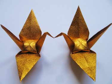 """1000 LARGE SHINY GOLD ORIGAMI CRANES FOR WEDDING DECORATIONS 6"""" X 6"""""""
