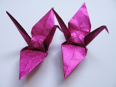 """1000 LARGE SHINY PINK ORIGAMI CRANES FOR WEDDING DECORATIONS 6"""" X 6"""""""