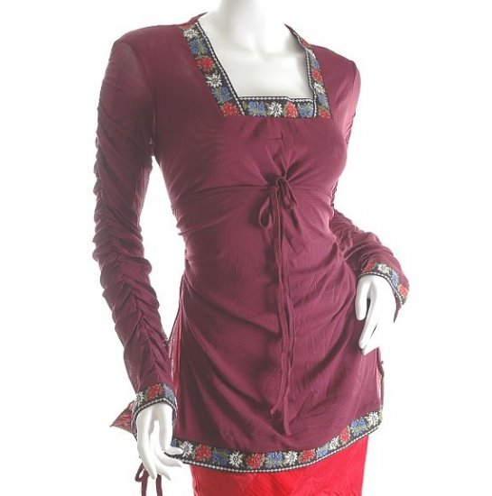 RUNWAY INSPIRED FASHION BOHO CLOTHING ROMANTIC GOTHIC SCA CLOTHES RUCHED TUNIC TOP