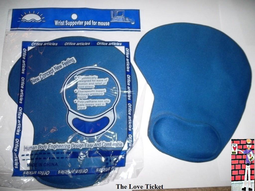 Gel mouse pad wrist rest blue 2 pieces