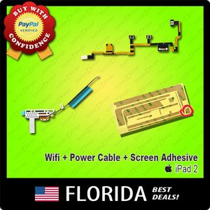 3 pc iPad 2 Adhesive Power Volume Button Wifi Antenna Flex Cable Replacement Kit