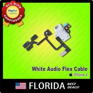 White Volume Flex Cable Headphones Audio Button Jack Earphone Switch iPhone 4 4G