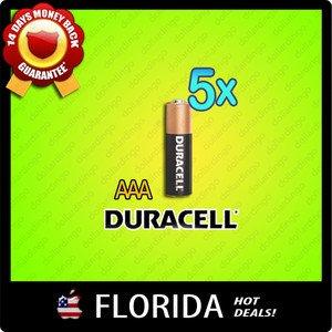5 pack lot AAA Duracell Alkaline Batteries Brand New Fresh Black Brown 5x x5