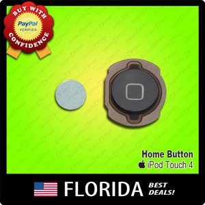Black Home Button Rubber Holder Kit Replacement Apple iPod Touch 4 4th Gen Parts