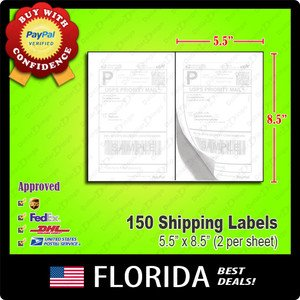 """150 lot Shipping Postage Labels 8.5"""" x 5.5"""" Half Page Adhesive Standard eBay XL"""