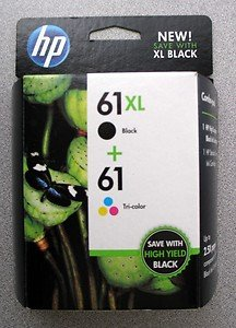 New Genuine HP 61 XL Black + HP 61 Tricolor Combo Pack Ink Cartridges exp 07/14