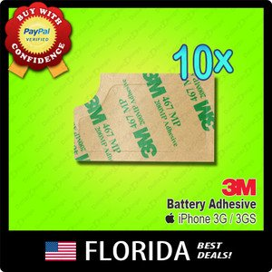 10 lot A142 Battery Adhesive iPhone 3G 3GS 3M Tape Sticker Pull Tab Replacement