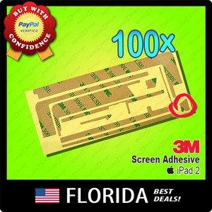 100 lot iPad 2 Adhesive 3M Tape Touch Screen Digitizer Glue Sticker x100 100x