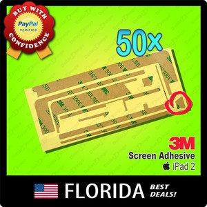 50 lot iPad 2 Adhesive 3M Tape Touch Screen Digitizer Glue Sticker x50 50x