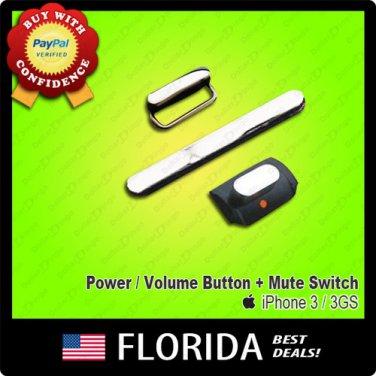 3 piece Set Black Silent Mute Switch Power Volume Button iPhone 3 3G 3GS On Off