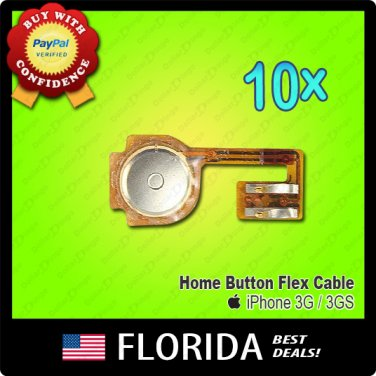 Lot 10 iPhone 3 3G 3GS Home Menu Button Flex Cable Ribbons Cable 10x x10
