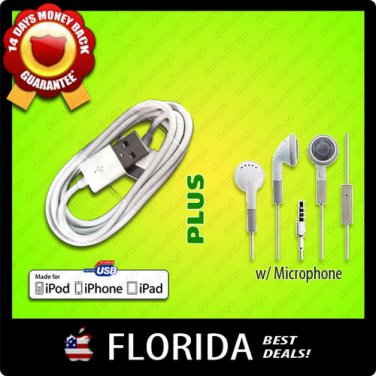 USB Data Sync Cable Earphones Mic Microphone Apple iPhone 3GS 4 iPod