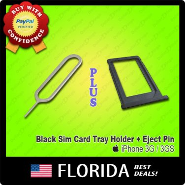 Black Sim Card Tray Holder Slot Eject Ejection tool Pin iPhone 3G S 3GS