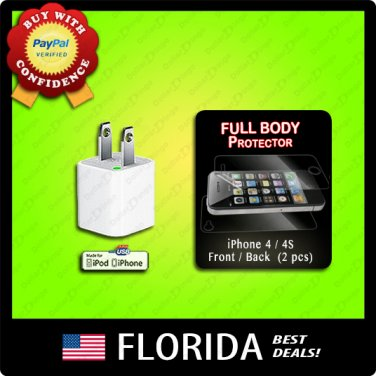 USB wall charger AC adapter FULL BODY screen back protector Apple iPhone 4 4S