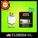 USB wall charger AC adapter iPod touch 2 lot screen protectors Apple iPhone 4 4S