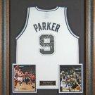 Tony Parker Autographed Jersey Framed