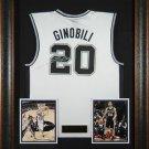 Manu Ginobili Autographed Jersey Framed