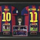 Lionel Messi & Neymar Jr Signed FC Barcelona Jerseys Champions League Display.