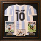 Diego Maradona Signed Argentina Shirt Display.