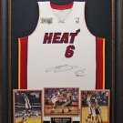 Lebron James Signed B2B Patch Miami Heat Jersey Framed